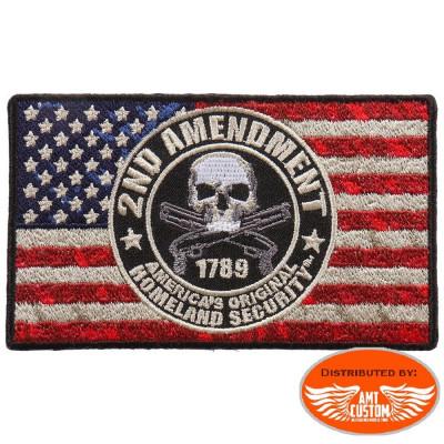 2nd Amendment Skull USA Flag Patch Biker jacket vest