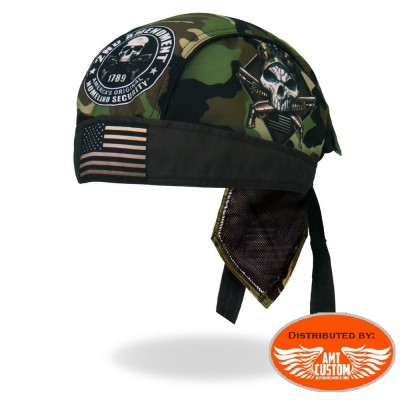 Zandana biker Skull 2nd Amendment Military.