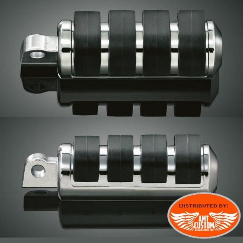 Reposes pieds chrome anti-vibrations pour Harley - passager et pilote Sportster Dyna Softail