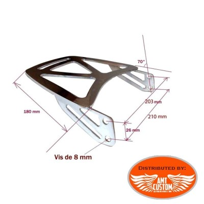 Dimensions Rack Porte bagage chrome court pour Sissy bar