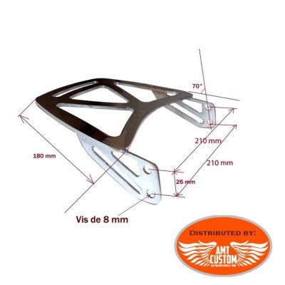 Dimensions Rack Porte bagage chrome pour Sissy bar.