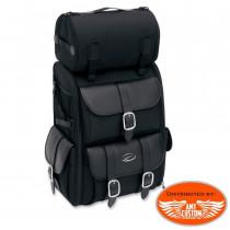Sac sacoche Sissy bar rigide 57,4 Litres DELUXE avec Roll Bag Moto custom