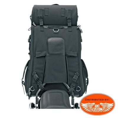 Fixations Sac sacoche Sissy bar rigide 57,4 Litres DELUXE avec Roll Bag Moto custom