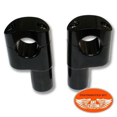"2x Risers pontet Noir Universels pour guidons 25mm (1"") pour Harley Davidson Choppers Bobbers"