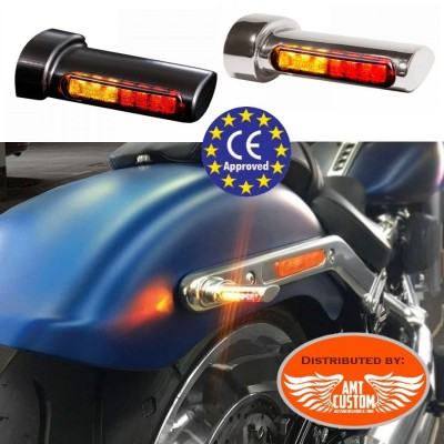 Clignotants LED et Feu STOP CE Winglet Chrome ou Noir 12V DC avec Stop intégré