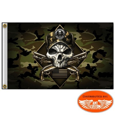 Military Skull 2nd Amendment Flag