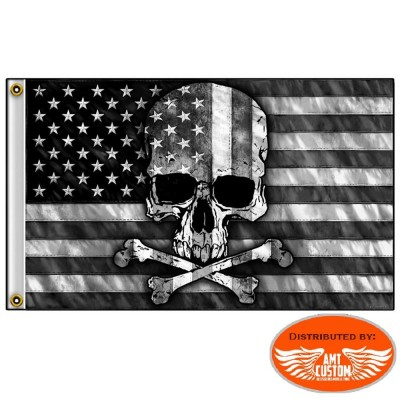 Skull Bones USA Black & White biker Flag