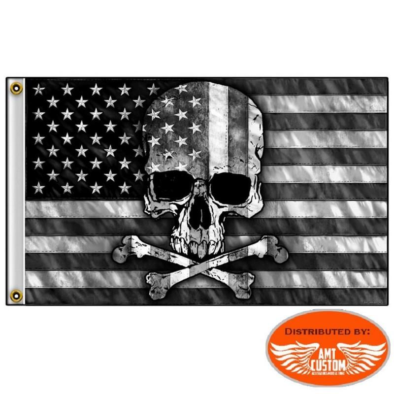 Drapeau Biker Skull Bones USA Black & White