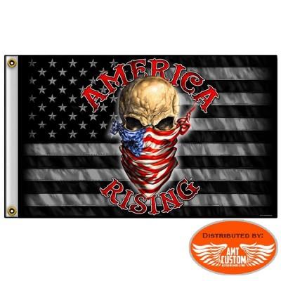 "Drapeau Biker Skull USA ""American Rising"""