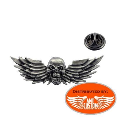 Pin Skull Rebel Eagle Wings