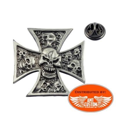 Pin's Tête de mort skull et Croix de Malte Group