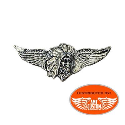 Pin's Biker métal tête indien Ailes aigle