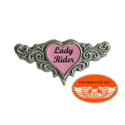 Pin Chrome Biker Lady Rider Heart