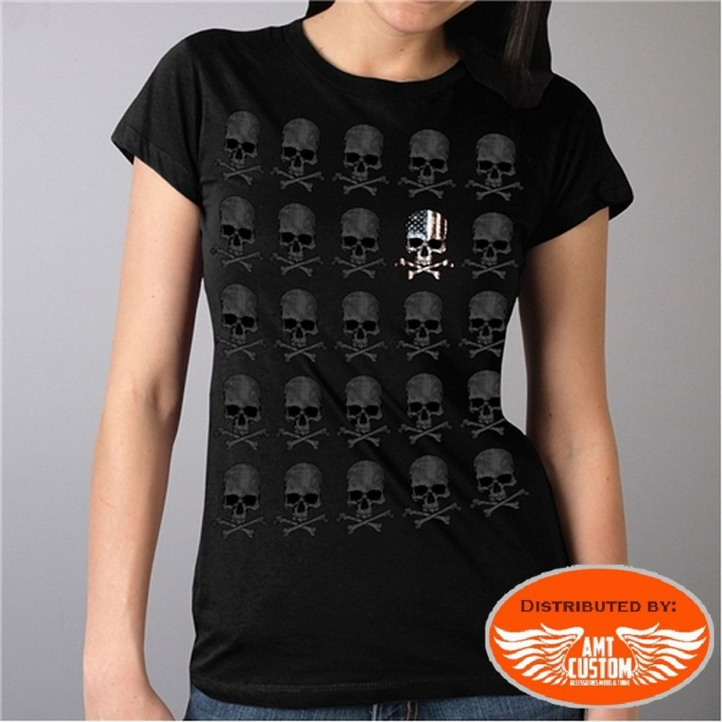 T-shirt Lady Rider Skull Bones Drapeau USA.
