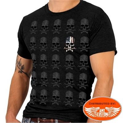 Biker Skull bones Flag USA T-shirt