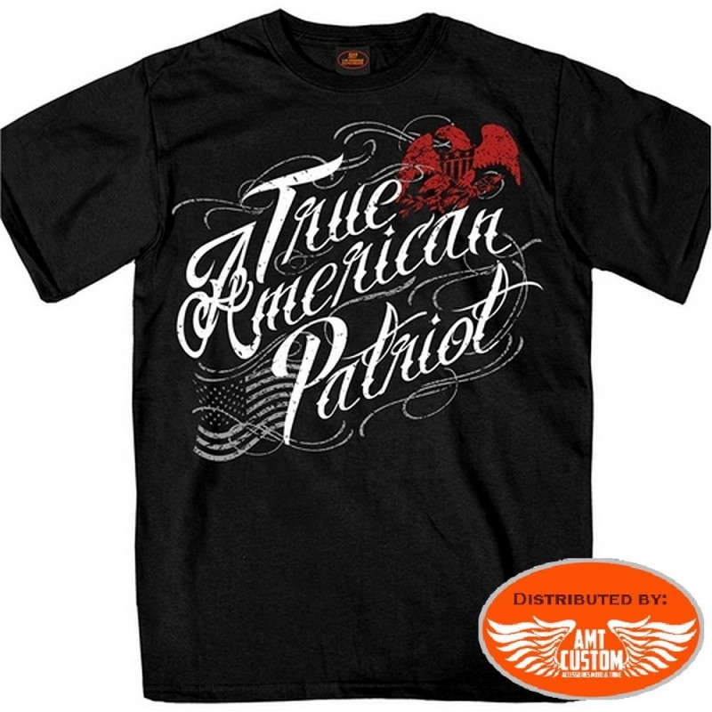 "T-shirt Biker Aigle ""True American Patriot""."