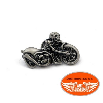 Pin Chrome Skull Motorcycle
