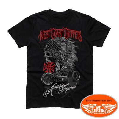 "Tee-shirt  West Coast Choppers ""Chief"" Skull Indien."