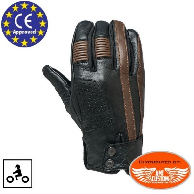 Gants WCC Grunge cuir noir et marron homologués CE