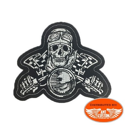 Ecusson Patch Lethal Motard Skull Racing.