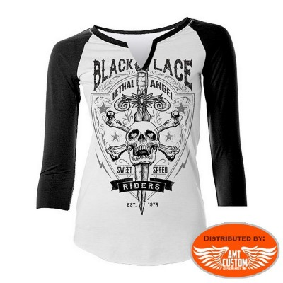 """T-shirt manches 3/4 Lethal """"Black Lace""""."""