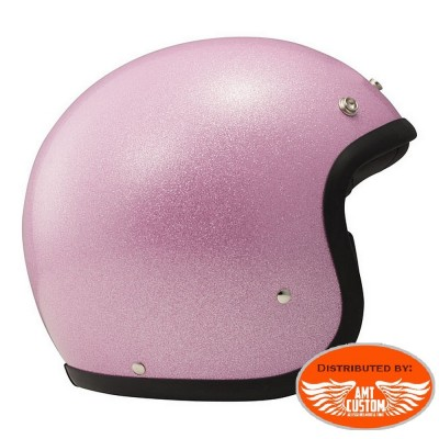 Casque Jet DMD Glitter Rose homologué CE