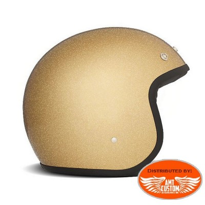Gold DMD Glitter Jet Helmet CE Approved
