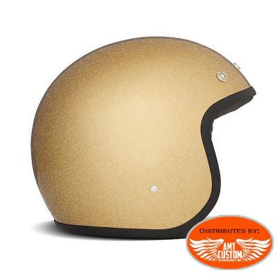 Casque Jet DMD Glitter Gold homologué CE