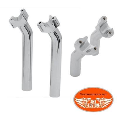"2x Risers Pullback Chrome guidon 25mm (1"") Harley"