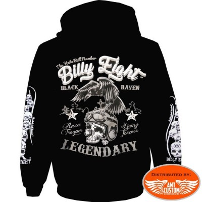 Sweat Veste capuche Biker Billy Eight Black Raven