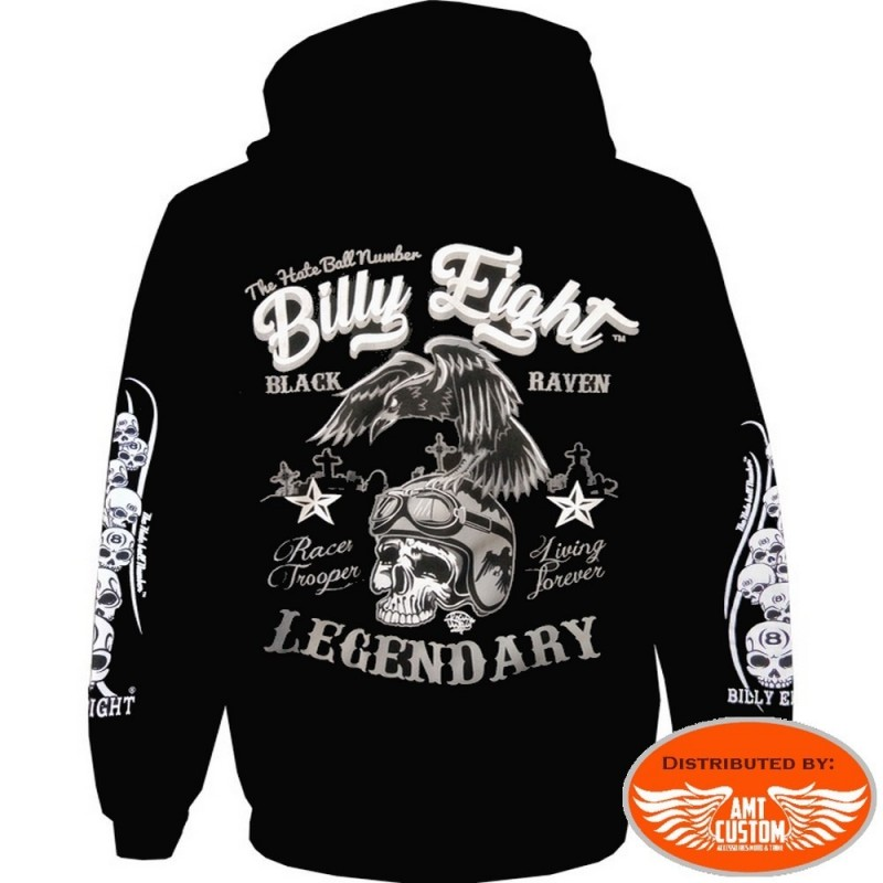 Hooded jacket Biker Billy Eight Black Raven