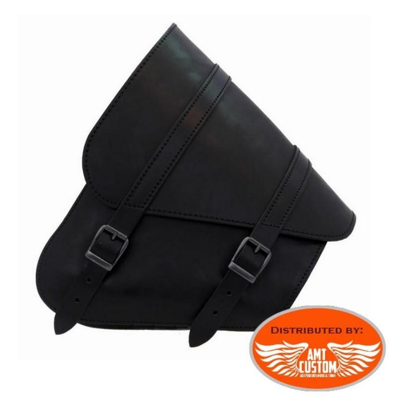 Softail Sacoche bras oscillant cuir noir - Harley, Suzuki, Yamaha
