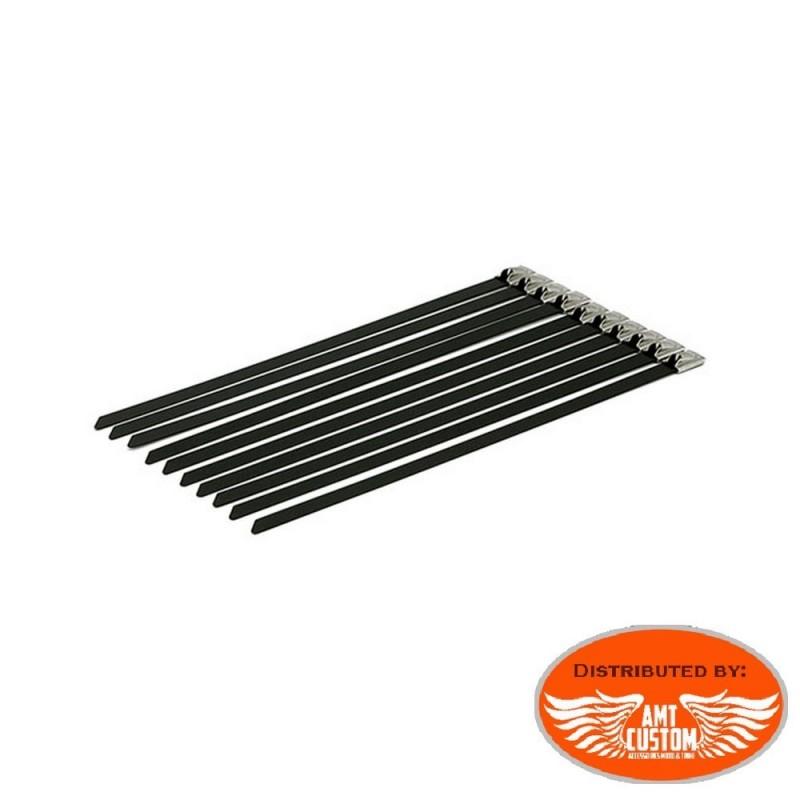 10 colliers de serrages Inox noir pour bande thermique échappement