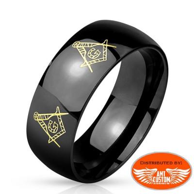 Bague anneau noire Mason biker