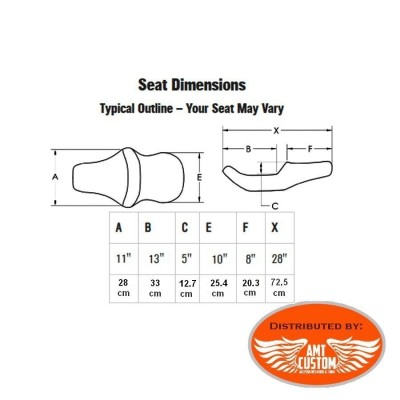 Dimensions Seat Sportster 79-03Gel Core confort  XL 883 and 1200 for Harley Davidson