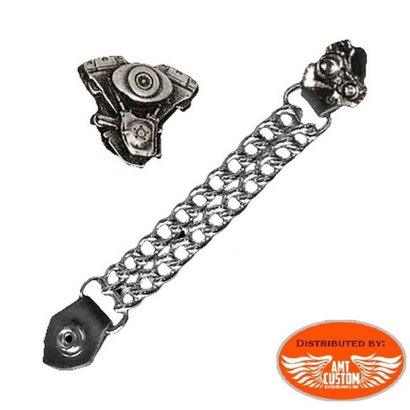 Custom Vtwin motor Chain extension for biker vest