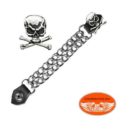 Chaine extension gilet tête de mort Skull bones.