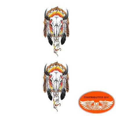 Sticker Réservoir Skull Tête de Mort casque Flammes