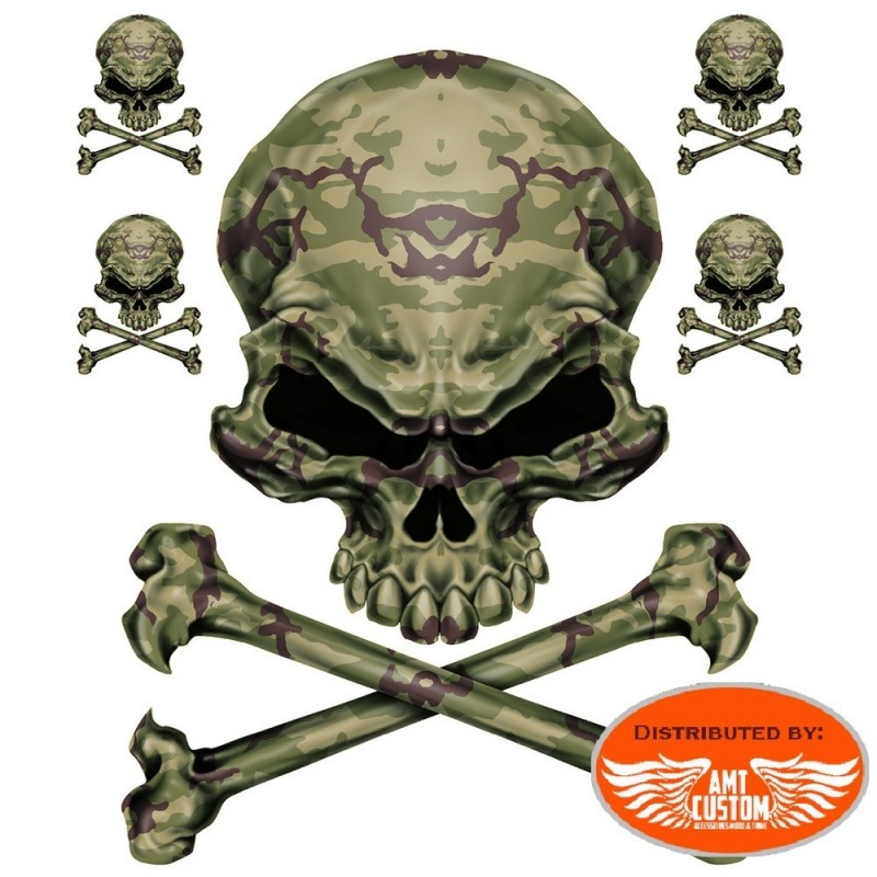 5 Stickers decal Camo Skull.