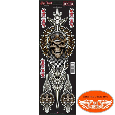 3 Large Skull Racing Stickers.