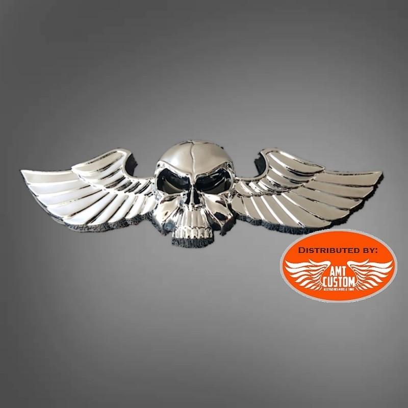 Emblème sticker skull tête de mort ailes 3D