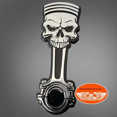 Emblème sticker skull tête de mort piston 3D