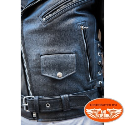 Leather Biker Jacket Eagle Live to Ride Hells-Design