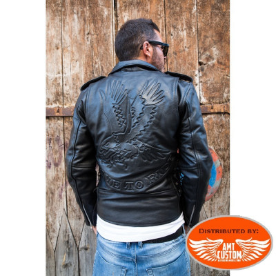 Blouson Perfecto Cuir Aigle Live to Ride Hells-Design
