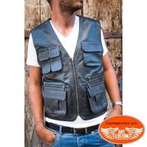 Gilet Biker cuir Noir uni multi-poches - Gilet chasseur cuir