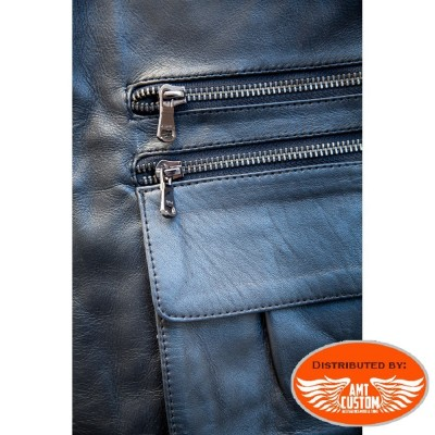 Black leather Vest biker multi pocket motorcycles - Trappeur