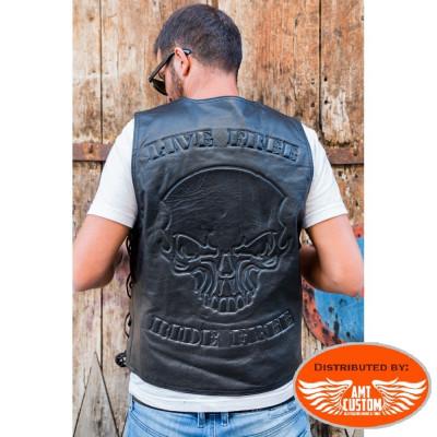 Skull Leather Vest Hells-Design