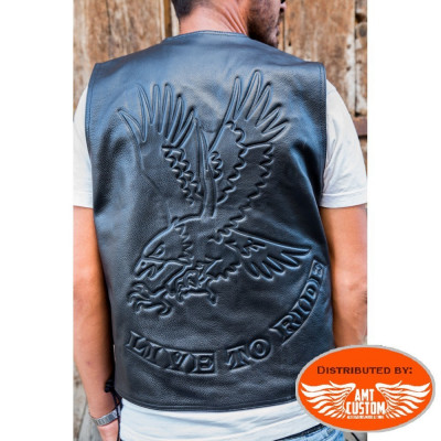 Live to Ride Eagle Leather Vest Hells-Design