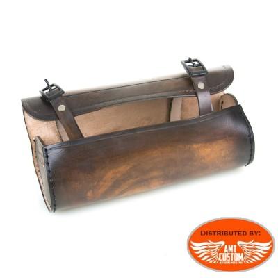 Sacoche outils Route 66 Cuir Marron pour fourches ou sabres moto