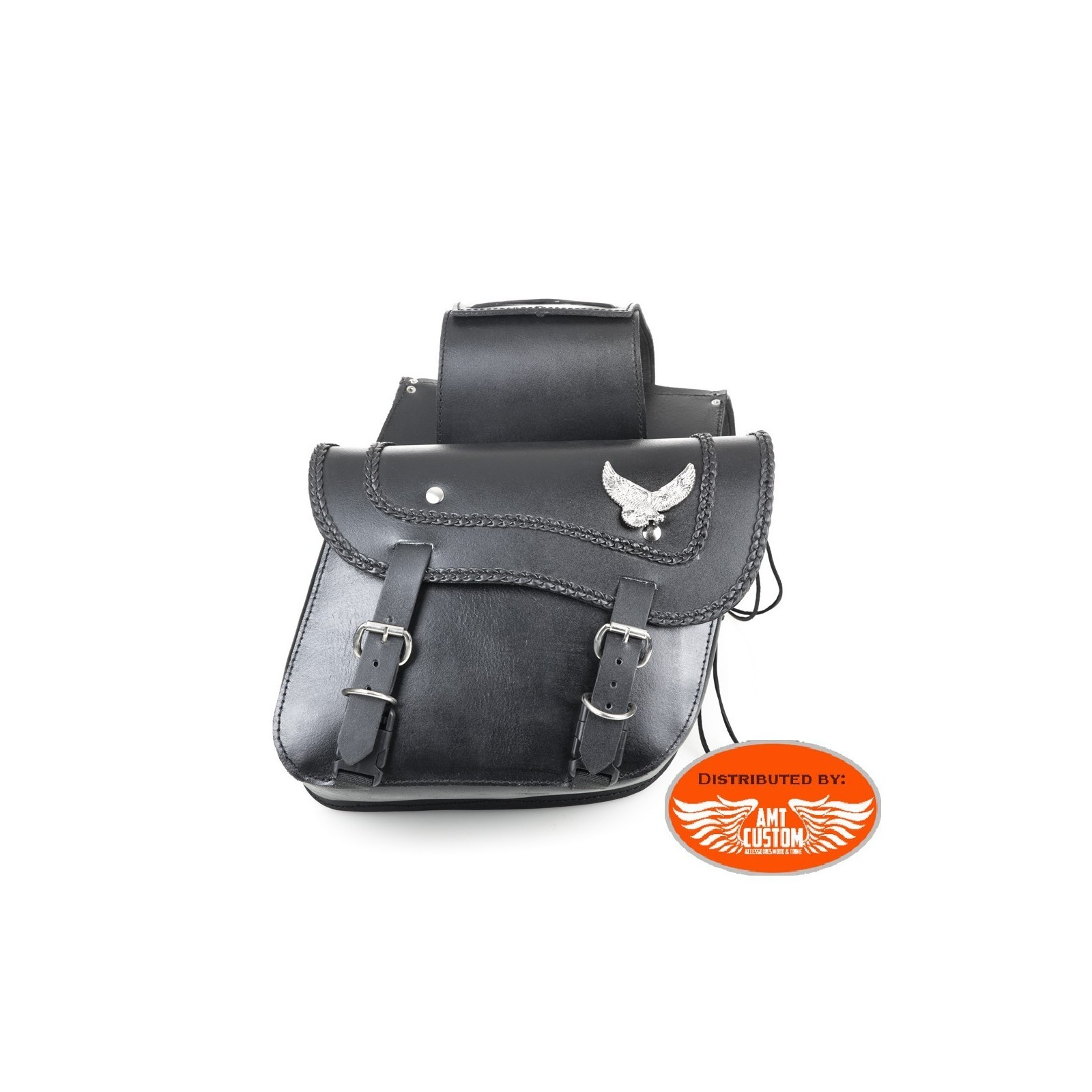 Moto Custom Sacoches cavali/ères Cuir Aigle verrouillable